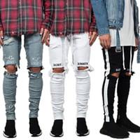 Новые моды мужские джинсы прохладная уличная одежда черные дыры белые полосатые джинсы хип-хоп скейтборд карандашные брюки