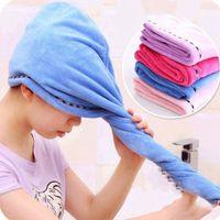 Asciugamano per capelli asciutti forti Colore puro Quick Doccia Doccia Doccia Cappucci per capelli Asciugatura Turban Wrap Hat Spa Bathing Caps WY519Q HB