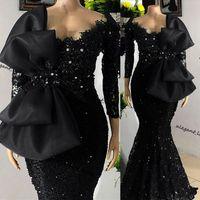 Abiti da ballo a manica lunga Mermaid 2021 Bordatura Abito da sera nero pizzo con fiocco celebrità sukienki abiti da festa vestido de fiesta