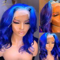 HD Transparent Body Wave Ombre Blue 613 Rubia 13x6 Frente de encaje Pelucas de cabello humano Pelucas Frontales Full Full For Black Women 250