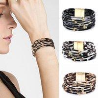 Mode 3 Färger Leopard Läderarmband för kvinnor Bohemian Multilayer Bangles Armband Wide Wrap Bracelet Smycken Gifts PS2394