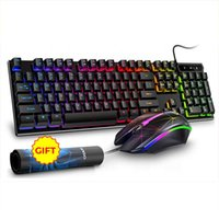 RGB Backlit Desktop Keyboard Mouse USB com fio Gaming Teclado Teclado Mouse Combo Para PC Laptop Gamer Pad Presente