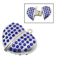 Diamond Heart USB Flash Drive PenDrive 128GB USB PenDrive Flash Drive USB Stick 2.0 Crystal Love Heart 64GB 8GB 16GBDrive