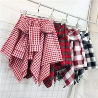 WKOUD Kadın Ekose Baskılı Etekler Düzensiz Yaz Gömlek Etekler Elastik Bel Koleji Tarzı Mini Etek Jupe Femme DK6054 LJ200820