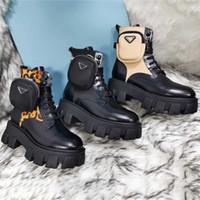 고품질 여성 신발 Luxurys Martin 발목 부츠 여성 정품 가죽 양모 플랫폼 가방 부츠 발 뒤꿈치 높이 6cm
