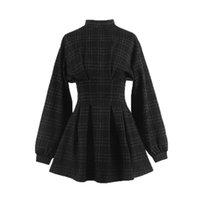 Günlük Elbiseler Qweek Ekose Goth Elbise 2021 Gotik Harajuku Vintage Uzun Kollu Wrap Mini Pileli Punk Retro Balck Kadınlar için
