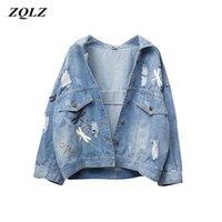 Zqlz plus size 5xl outono denim jaqueta mulheres 2020 novo bordado padrão lapela solta jeans casaco fino primavera jaquetas mulheres