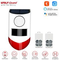 Wolf-Guardia 120dB Tuya WiFi solar al aire libre de movimiento del sensor de alarma intermitente impermeable seguridad del detector de hogar para garage / Cobertizo / Granja