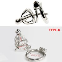 Stainless Steel Cock Cage With Metal Urethral Catheter Chastity Cage Erotic Device Prison Penis Ring Sex Toys for Men C095-C098