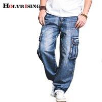 Holyrising Men Jeans Pantaloni Casual Cotone Denim Pantaloni Multi Pocket Cargo Jeans Uomo New Fashion Denim Pants Big Size 18665-5 201111