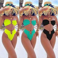 2021 Neuheiten Womens Designer Bini Massivfarbe 2 Stück Anzug Sexy Badebekleidung Mode Lässige Frauen Kleidung