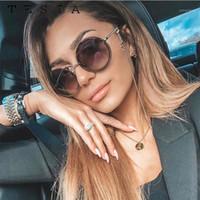 ماركة جولة نظارات شمسية بدون شفة النساء الفاخرة الإناث ظلال مثير دائرة نظارات الشمس مع سلسلة feminino أنيق