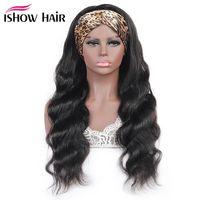 Ishow 8-30inch Vierge Human Cheveux Perruques avec bandeau Bande Yaki Eau droite Aucune bandeau de dentelle Perruque Lâche profonde frisée pour femmes filles tous âges couleur naturelle