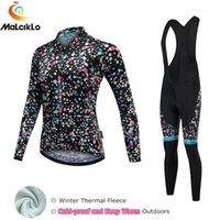 Malciklo 2020 Renkli Noktaları Termal Polar Kış Bisiklet Giyim Kadın Bisiklet Bisiklet Giysileri Pro Takım Bisiklet Jersey Set1