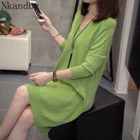 Nkandby plus tamanho v-pescoço camisola vestido mulheres 2020 outono inverno solto blusas de malha enorme manga longa senhoras vestidos de malha lj201112