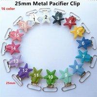 50 adet / grup 1 '' 25mm Yıldız Metal Jartiyer Toplantı E-Tutucu Klipler Bebek Kukla Emzik Zincir Klipler Kurşun Ücretsiz