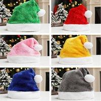 Red Plüsch Santa Claus-Kappe Erwachsene Vater Weihnachten Pom Mützen Hut Solide Farben Fleece Kurz Pelz Hüte Velours Party Kostüm Geschenke LY10291