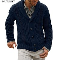 Pulls pour hommes Muyogrt Hiver Automne Long Milden Hommes Pull Cardigan Trench-Cardigan Homme Veste chaud