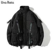 Una Reta зимняя куртка пальто мужчин Новая повседневная ветровка куртки мужские парку плюс размер хип хоп повязка дизайн пальто мужчина уличная одежда 210203