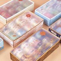 20 pz / scatola Retro Washi Tape Set Bronzing Nastro in carta Autoadesivo Materiale Materiale Giapponese Kawaii Decorativo Nastro decorativo Mascheratura Forniture per ufficio