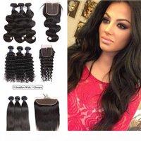 Body brésilien Human Wave Bundles cheveux avec fermeture 100% Vierge humaine Bundles Cheveux Corps droit Vague 3 Bundles avec lacets de fermeture