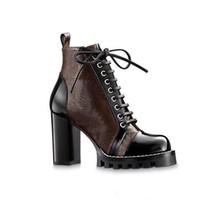 Yüksek Topuklu Martin Çizmeler Sonbahar Kış Kaba Topuk Kadın Ayakkabı Çöl Boot 100% Gerçek Deri Fermuar Mektup Lace Up Moda Lady Topuklu Büyük Boy 35-41-42 US11-42 Kutusu Ile