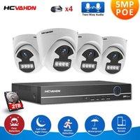 أطقم الكاميرا اللاسلكية 4CH 5MP الأمن الرئيسية NVR PoE CCTV نظام HI3516EV300 4MP في اتجاهين الصوت في الهواء الطلق اللون للرؤية الليلية مراقبة الفيديو ك