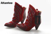 Attantou 2020 Botas para mujer Blav Boots Botas puntiagudas Punta de Toe Invierno Mujeres Damas Partido Estiramiento Occidental Tela