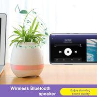 Bookshelf haut-parleurs Bluetooth Music Flowerpot Smart Plant Pot Plastal Pot Plastic Doigt Touchez LED Night Light Home Design Bureau Décoratif