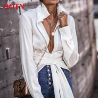 OOTN Seksi Beyaz Wrap Top Gömlek Kadınlar Uzun Kollu Bluz Dantel Yukarı Düğüm Ofisi Bayan Bluz Sonbahar Kış Kadın Tunik En 200930