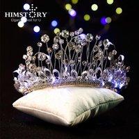 Зажимы для волос Barnettes Himstory Super роскошный светодиодный свет повязки для женщин ручной работы свадьба свадьба свадьба свадебный кристалл Tiara корона