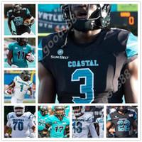 Custom 2020 2021 College Coastal Carolina Jai Williams Fußball Nähte Trikots Jacqez Hairston Henderson Hazel Jarrett Gast Männer Trikots