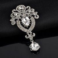Moda donna strass cristallo argento grande fiore spilla spilla da sposa nuziale