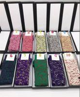 Горячие дизайнерские спортивные хлопковые чулки носки для женщин 29 цветов женские бренды старинные буква золотая проволока носок средних чулок подарки