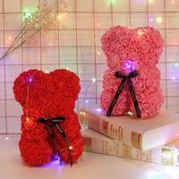 Qifu 25 cm Schaumbär von Rosen Big Teddybär Rose Valentinstag Geschenke Rote kleine Rose Gefälschte künstliche Blumen Hochzeit Dekoration1