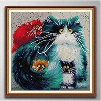 Renkli Kedi El Yapımı Çapraz Dikiş Zanaat Araçları Nakış İğne Setleri Tuval Üzerine Baskı Sayımı DMC 14CT / 11CT