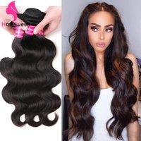 Body brésilien Human Wave Bundles cheveux 3 4 pièces du Pérou Indien Malais humaine Cheveux Trames naturel Couleur 8 14 16 18 26 28 30 34 pouces