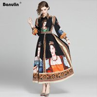 Banulin New Herbst Charactor drucken lange Kleid Frauen 2020 lange Hauchhülse Vintage Druck Hohe Taille A-Line Runway Maxi Kleid LJ200818