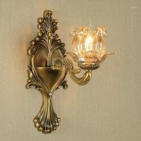 Altın Bronz Kristal Duvar Lambası Avrupa Oturma Odası Arka Plan Lamba Yatak Odası Başucu Restoran Koridor Koridor Merdiven Light1
