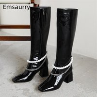 Beading Pearl Knee High Boots Women Square Toe Block High Heels Side Zip Black Patent Leather Chains Winter Runway Botas Mujer