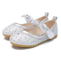 Autumn Bow Silver Child Dress Leather Shoes For School Girls Fashion Crystal Princess Wedding Party Shoes 2 3 5 6 7 8 9 10 Years
