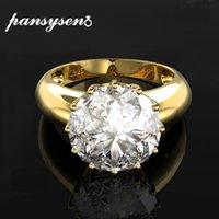 Luxo Feminino PANSYSEN 12MM Round Top qualidade de cor de pedras preciosas ouro casamento anéis de noivado 925 Sterling Silver Jewelry Anel 201112