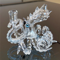 Verre Octopus Rigs Bong Water Pipe tamponner avec 14.4mm Homme Joint main Artisanat barboteur Heady ongles Cap Grossiste