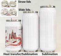 الترمس زجاجة DIY التسامي كولا يمكن المياه محاطة بجدران مزدوجة 304 الفولاذ المقاوم للصدأ البهلوان معزول فراغ مع غطاء فارغة HH9-3405