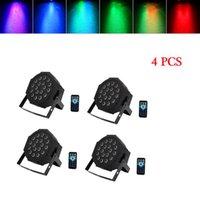 Diseño más nuevo 24W 18-RGB LED AUTO / CONTROL DE VOZ DMX512 Lámparas de escenario de alto brillo (AC 100-240V) Negro * 4 Luces de cabeza móviles