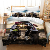 Фанайзия мотоцикл постельное белье двойной размер роскошные детские одеяло обложка набор с наволочками мотокросс кровать кровать кровать утешитель 201210