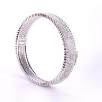 유럽과 미국 전체 다이아몬드 라이트 비드 팔찌 구리 도금 다이아몬드 세트 패션 여성 팔찌 저녁 착용 액세서리