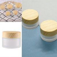 Moda geada frascos de vidro Esvazie recipientes cosméticos Veio de Madeira cobrir o rosto Eye Creme Garrafa Lady 2 7RX F2