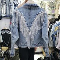Giacca di jeans cappotto 2020 Nuova femmina nera Giacca di jeans delle donne donne Jean Giacchette Abbigliamento da esterno vasca con frange Rivet Ragazze