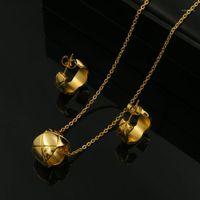 No Zircon Crush Collar Necklace + Hoop Earring Jewelry Set No Stone Titanium Steel Set For Women Party Cross Bridal Jewelry1